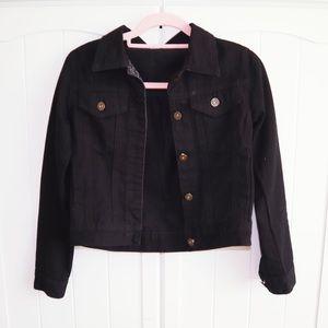 Black crop button denim jacket